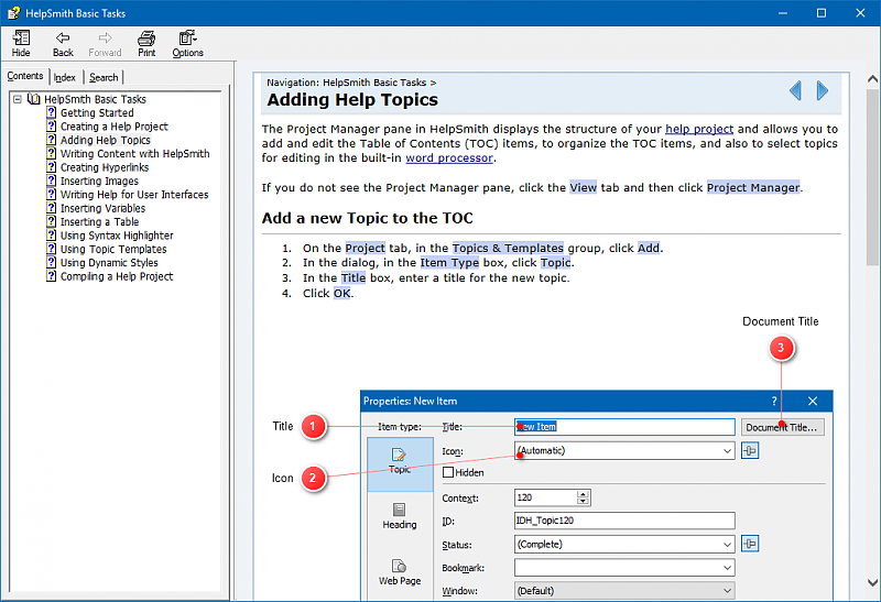 A CHM help file displayed with standard HTML Help viewer