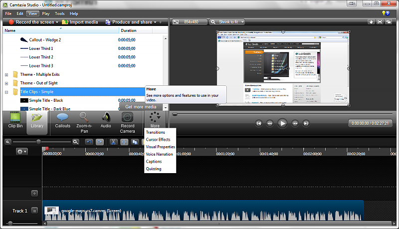 Camtasia Studio screen recording tool