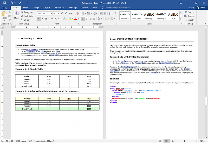 A printable manual written in Microsoft Word